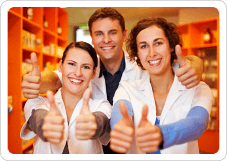 three pharmacist giving a thumbs up